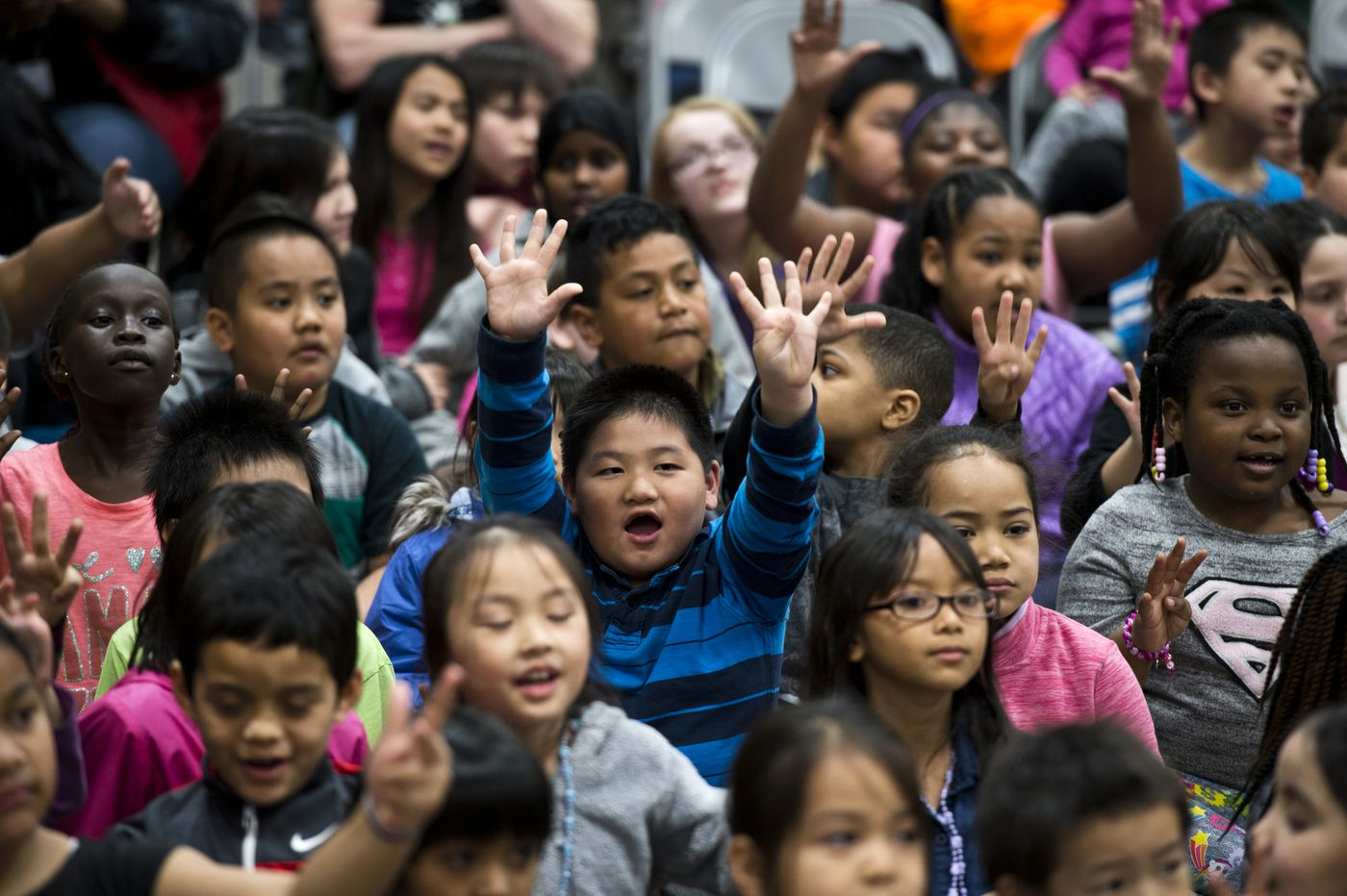 Students enjoy the Mountain View Elementary School talent show on Thursday. (Marc Lester / ADN)