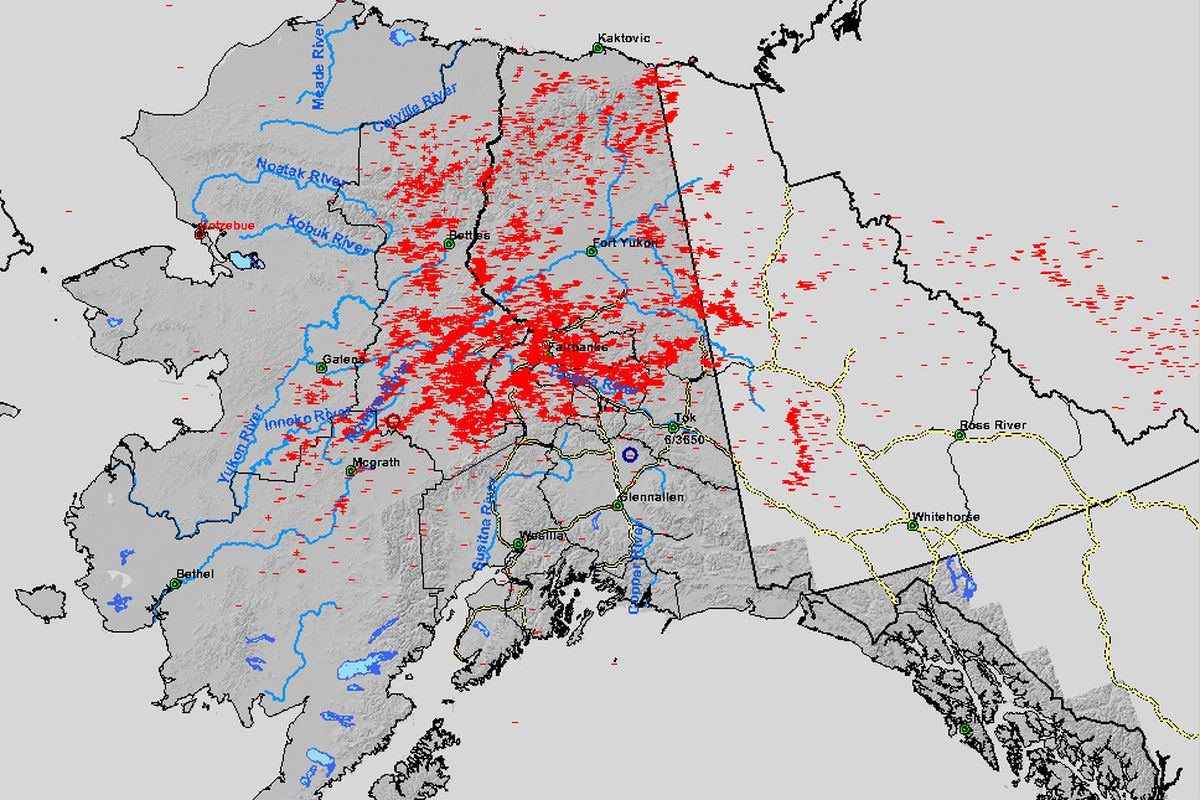 10,292 lightning strikes were recorded across Alaska between 6 a.m. and 6 p.m. on June 26, 2016, according to the Alaska Interagency Coordination Center. (Courtesy Alaska Interagency Coordination Center)