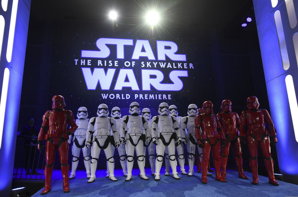 Stormtroopers pose at world premiere of 'Star Wars: The Rise of Skywalker ' on Monday, Dec. 16, 2019, in Los Angeles (AP Photo/Chris Pizzello)