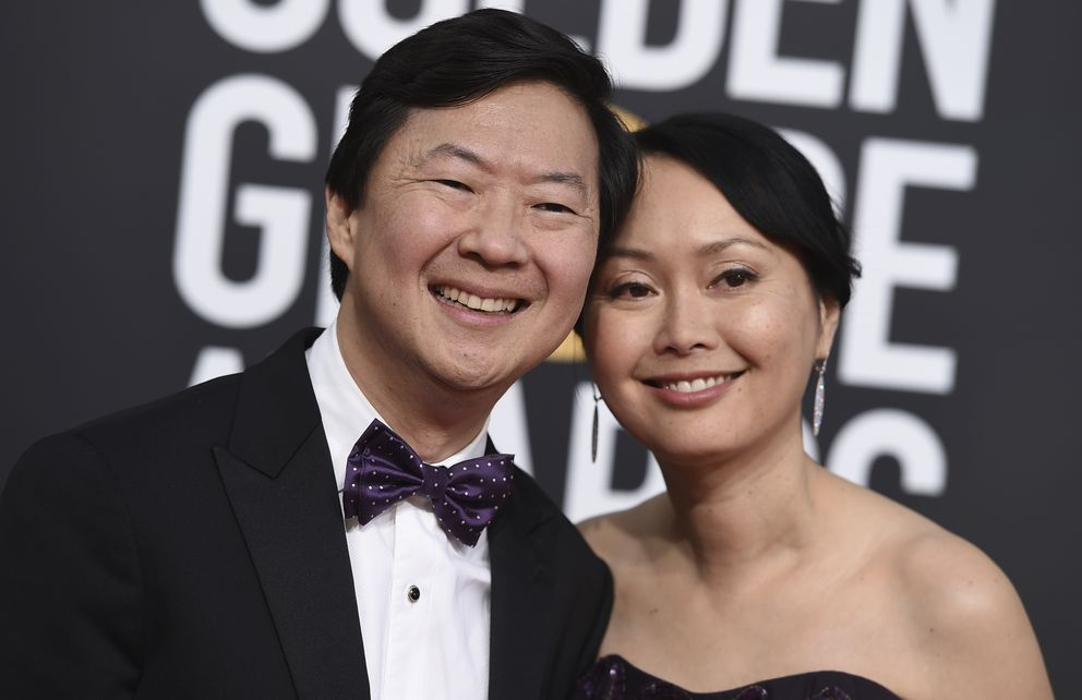 Ken Jeong, left, and Tran Jeong arrive at the 76th annual Golden Globe Awards at the Beverly Hilton Hotel on Sunday, Jan. 6, 2019, in Beverly Hills, Calif. (Photo by Jordan Strauss/Invision/AP)