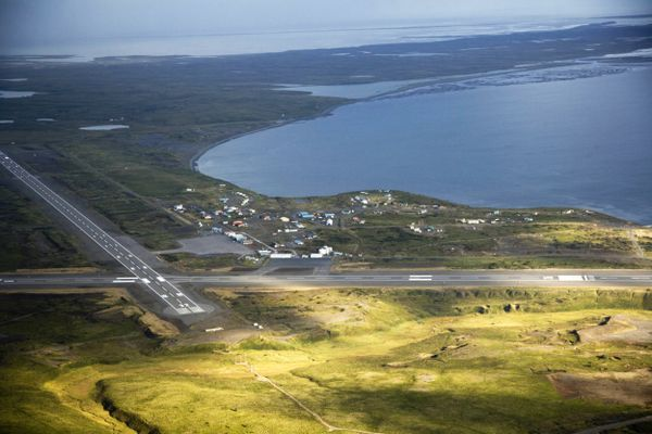 The runways at Cold Bay sit 18 miles distant from King Cove. About 11 miles of new road would need to be built to connect the communities. (U.S. Fish and Wildlife Service)