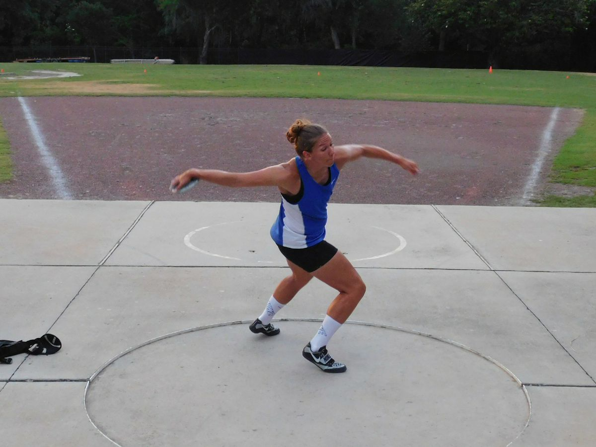 Paige Blackburn trains for discus at the University of Florida Track and Field stadium in Gainesville, Florida. She'll be throwing the discus in the Olympic Trials. (Photo by Karlee McQuillen)
