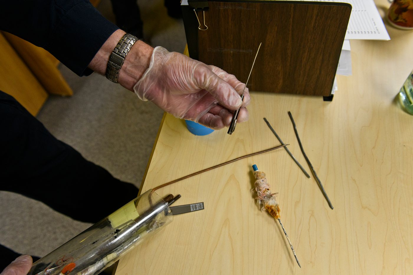 Security Sgt. Paul Wiest shows some of the shanks that have been confiscated at Spring Creek Correctional Center. The security office is tasked with keeping drugs out of Spring Creek and violence in it to a minimum, Wiest said. (Marc Lester / ADN)