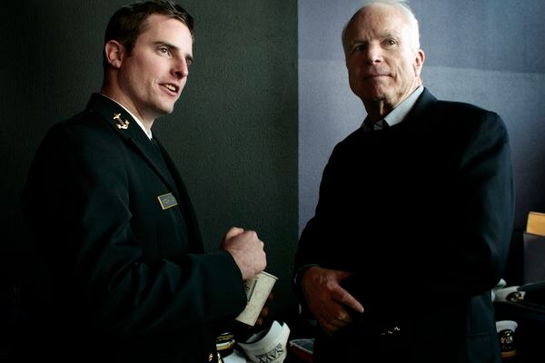 Then-Midshipman Jack McCain with his father before the Army-Navy football game in Baltimore in 2007. (Washington Post photo by Melina Mara)