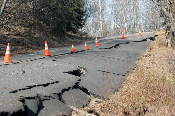 The road leading to the Eagle River Campground suffered extensive damage in the Nov. 30, 2018 earthquake. The road will need to be repaired and the campground will be closed until mid-June, according to state officials. (Matt Tunseth / Chugiak-Eagle River Star)