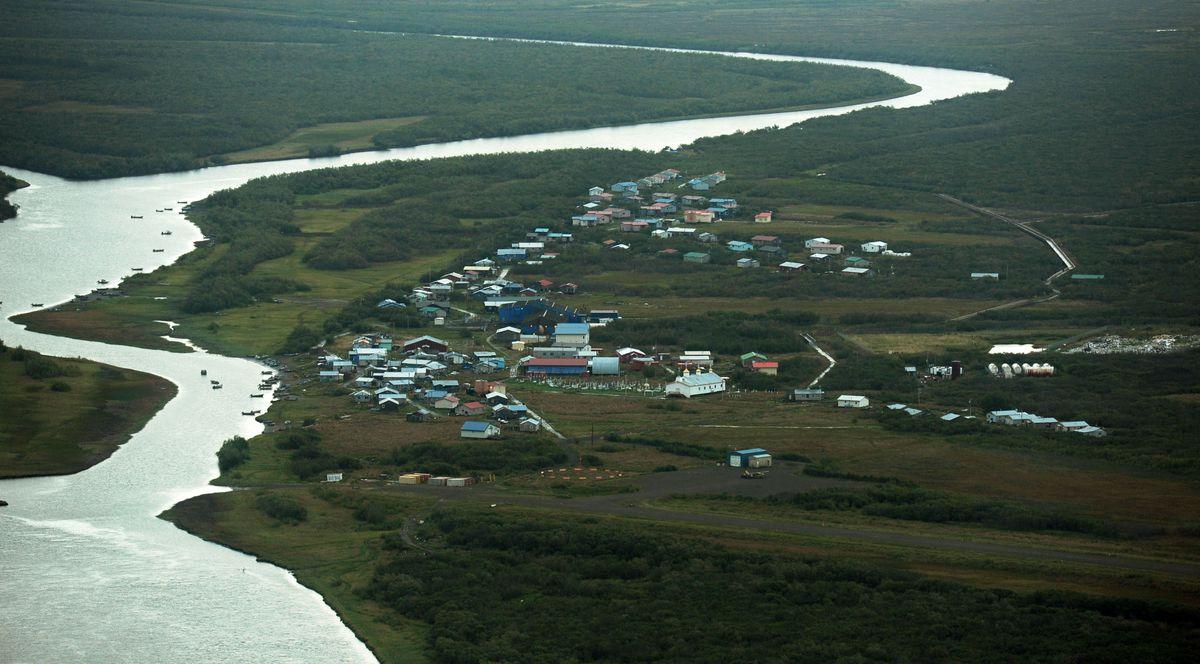 Napaskiak sits on the Kuskokwim River just downstream from Bethel on Thursday, August 28, 2014, in Western Alaska. (Erik Hill / ADN archive)