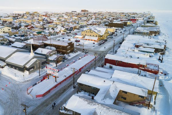 An aerial view of the finish line of the Iditarod, in Nome, Alaska on Tuesday, March 13, 2018. (Loren Holmes / ADN)