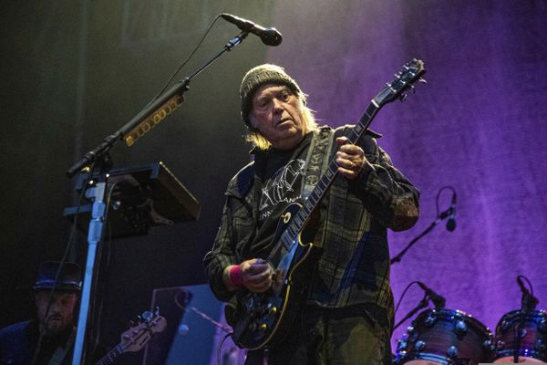 FILE - Neil Young performs at the BottleRock Napa Valley Music Festival at Napa Valley Expo in Napa, Calif. on May 25, 2019. Young is among several musicians who are objecting to their songs being used at President Donald Trump's campaign rallies. (Photo by Amy Harris/Invision/AP, File)
