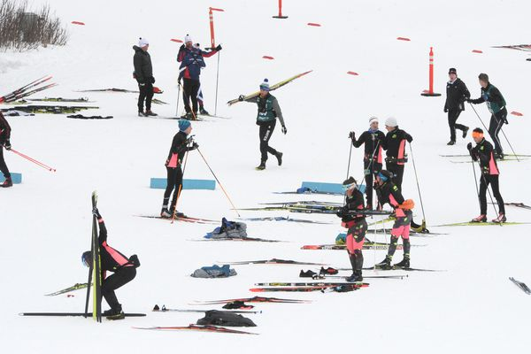 Skiers and coaches from around the country tested skis and studied the trails at Kincaid Park on March 10, 2019, in preparation for the Junior National cross country championships. (Bill Roth / ADN)