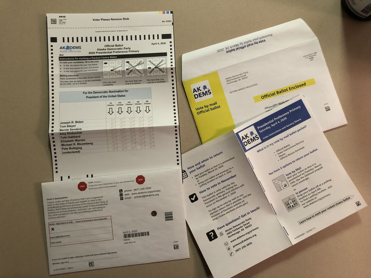 An Alaska Democratic Party primary ballot is seen Saturday, March 14, 2020. (James Brooks / ADN)