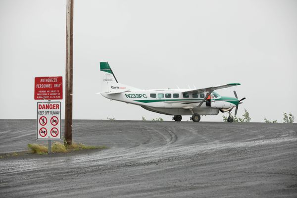 A Cessna Grand Caravan operated by Ravn Air prepares to take off from Mountain Village on June 26, 2019. (Loren Holmes / ADN)