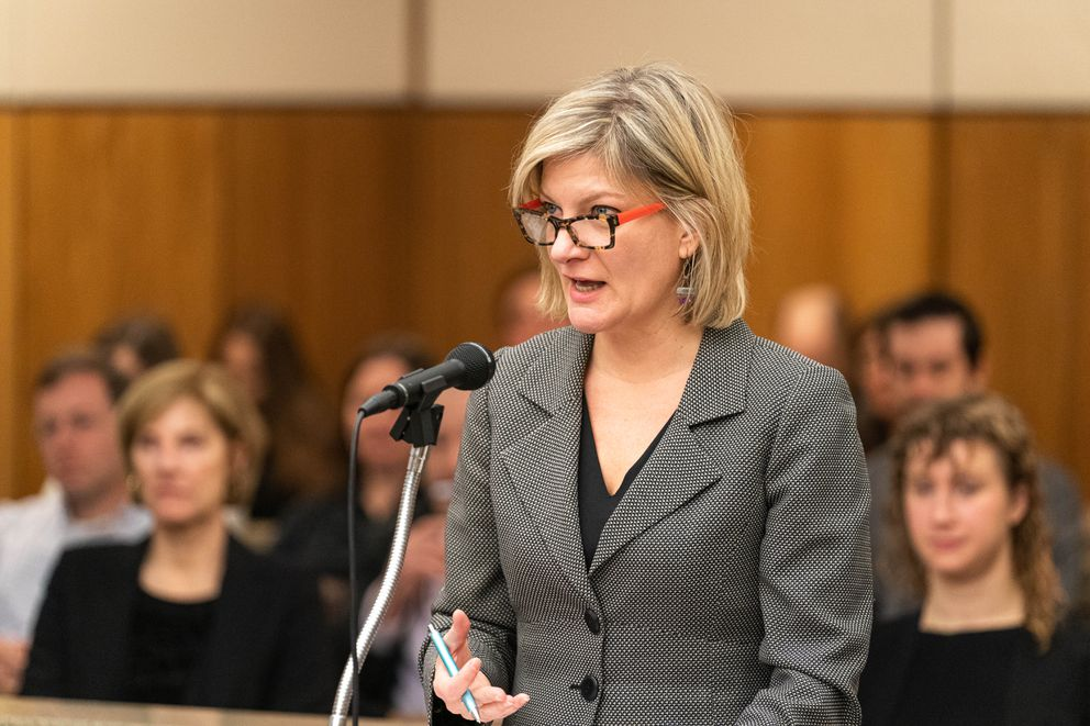 Former Alaska Attorney General Jahna Lindemuth argues on behalf of the Recall Dunleavy campaign Friday. The campaign alleges that the state improperly rejected one step of their recall effort. (Loren Holmes / ADN)