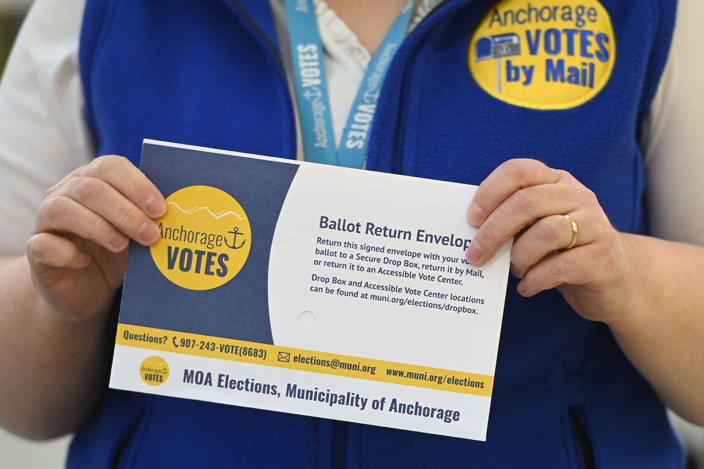 Vote-by-mail ballot return envelope at the Municipality of Anchorage Election Center on Monday, March 3, 2021. (Bill Roth / ADN)