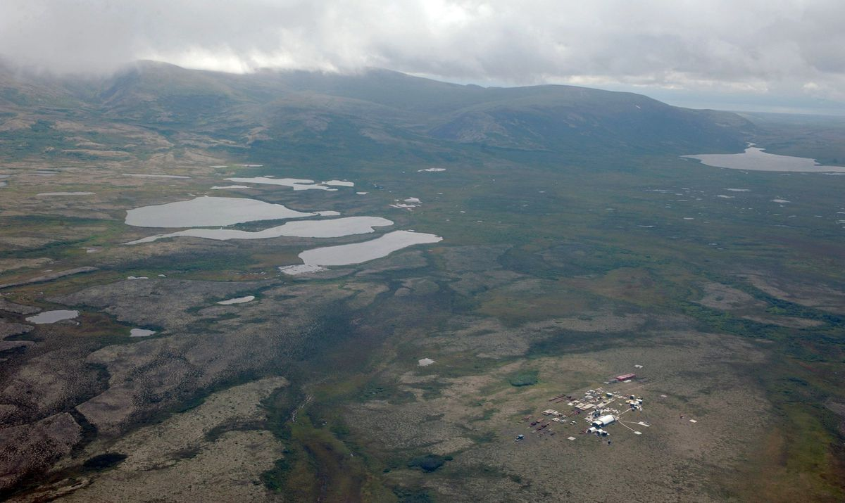 Aerial view of a work camp in the area of the proposed Pebble mine near Iliamna. (Bill Roth / AnDN archive, 2013)