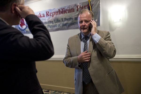 Tuckerman Babcock, chair of the Alaska Republican Party, talks on the phone at the Aviator Hotel on August 21, 2018. (Marc Lester / ADN)