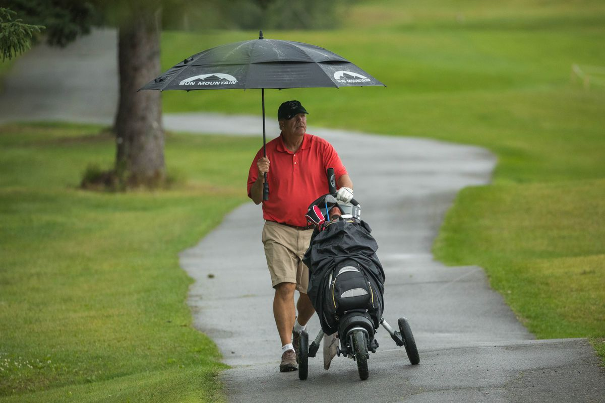Jim Waugaman stays dry as he pushes his cart past an Anchorage Golf Course fairway during Thursday's opening round of the state amateur golf tournament. (Loren Holmes / ADN)