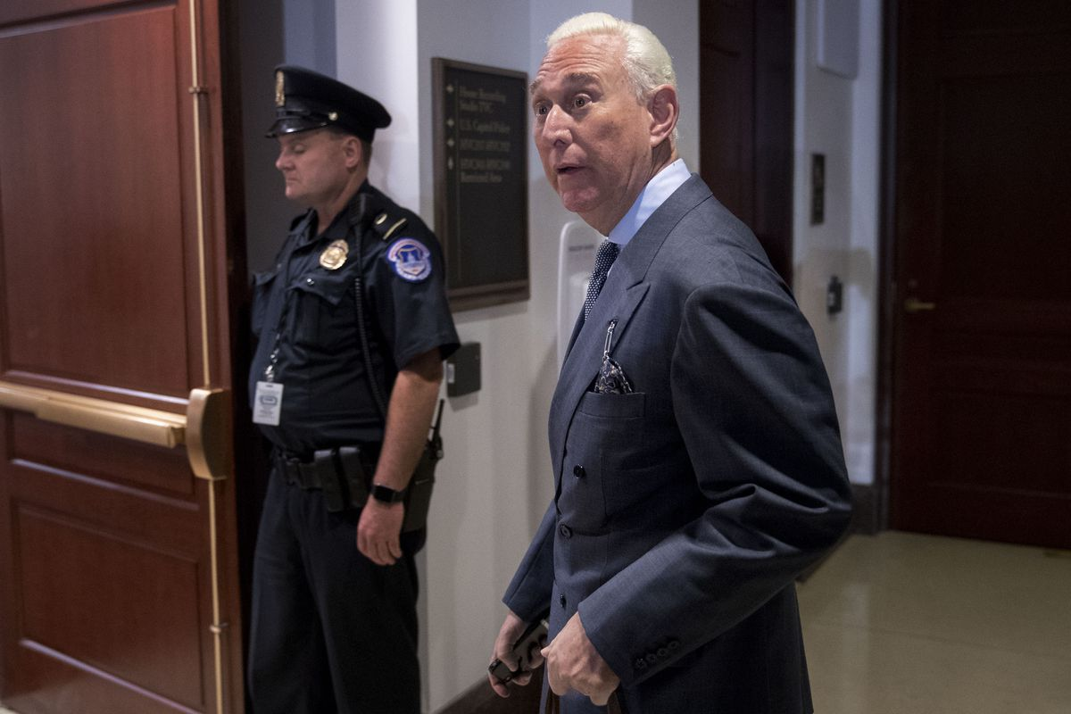 Roger Stone, former adviser to Donald Trump's presidential campaign, arrives to a closed-door House Intelligence Committee hearing on Capitol Hill in Washington, D.C., Sept. 26, 2017. (Bloomberg photo by Andrew Harrer)