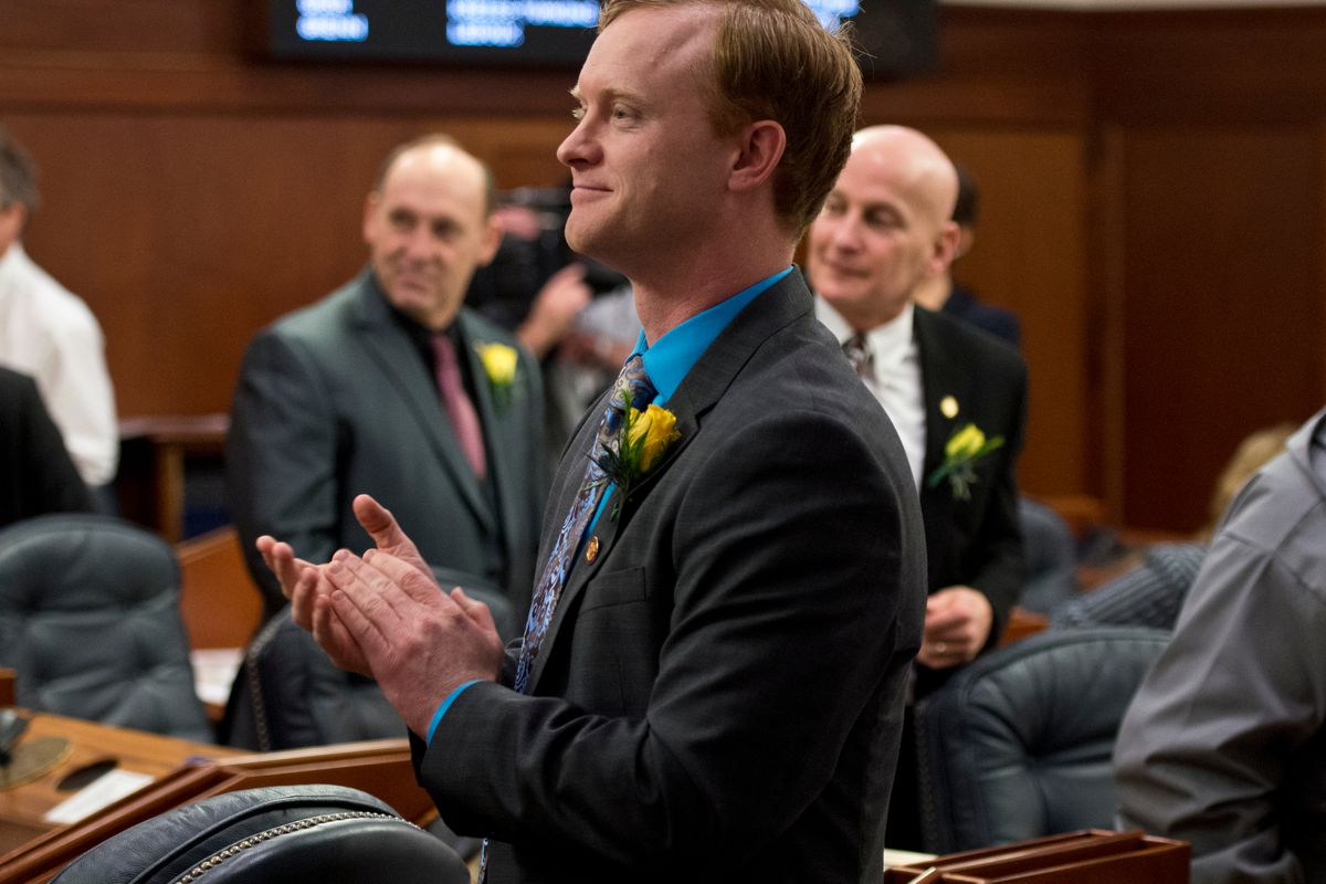 Rep. David Eastman, R-Wasilla, stands on the House floor in January. (Marc Lester / Alaska Dispatch News)