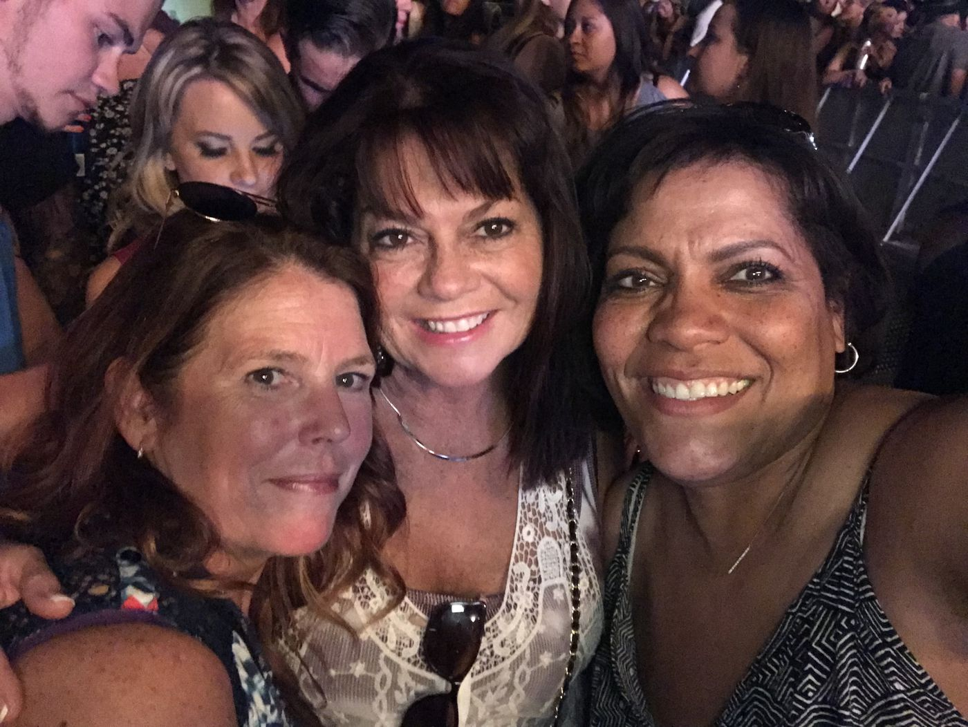 From left, Chris Holman, Jaimie Farrell and Michele McKean gather for a photo at the Route 91 Harvest Festival on Sept. 29, a couple days before the mass shooting. (Photo courtesy Michele McKean)