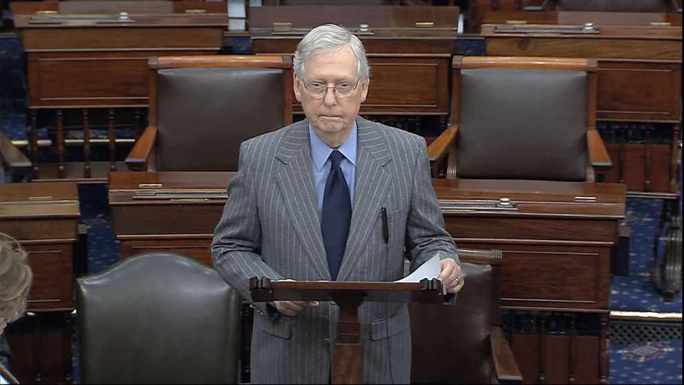 In this image from video, Senate Majority Leader Mitch McConnell of Ky., speaks after the Senate received the articles of impeachment against President Donald Trump from the House of Representatives at the Capitol in Washington, Wednesday, Jan. 15, 2020. (Senate Television via AP)