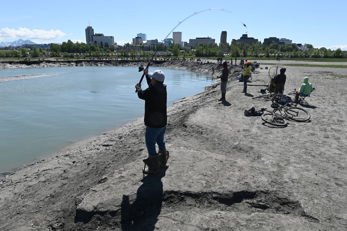 John Joe casts a lure while fishing for Chinook salmon at Ship Creek near downtown Anchorage on Sunday, June 14, 2020. (Bill Roth / ADN)