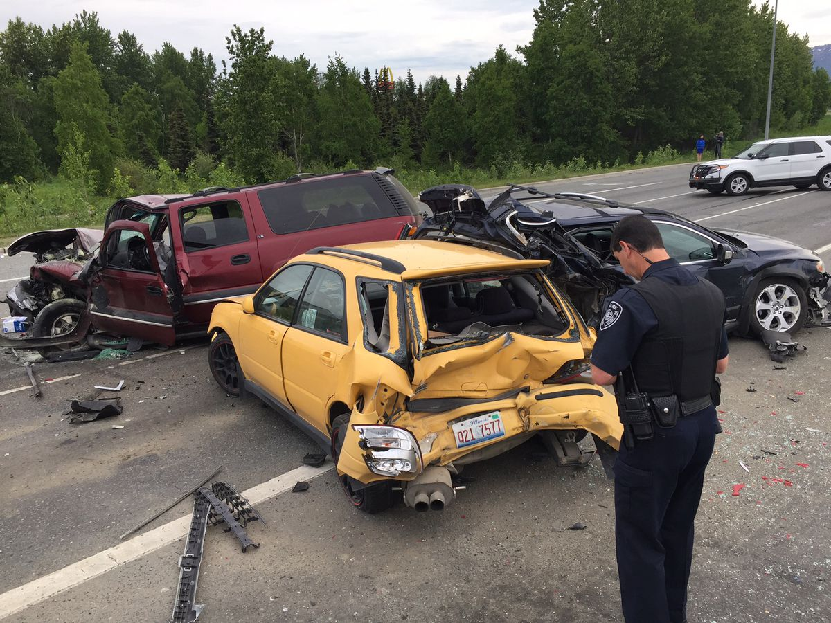 The Glenn Highway was closed inbound Friday, June 9, 2017 by an injury collision near Airport Heights Drive. (Marc Lester / Alaska Dispatch News)