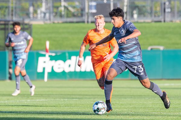 Obed Vargas (#73 in the blue jersey) plays with the Tacoma Defiance during the 2021 season. (Photo by Charis Wilson / Seattle Sounders FC)