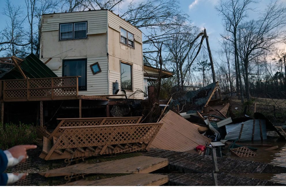 Aftermath of a tornado at the home of Troy and Susie Hardy on March 4, 2019 in Smiths Station, Alabama. (Photo for The Washington Post by Kevin D. Liles)