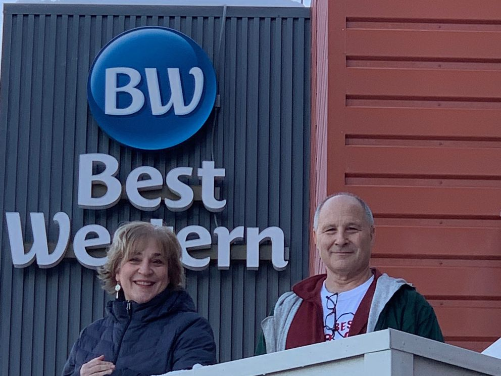 Kelly Kneaper and Brian Groseclose, owners of the Best Western Golden Lion Hotel in Midtown Anchorage, on the hotel's last day of business Dec. 22, 2020. (Photo courtesy of Kelly Kneaper)