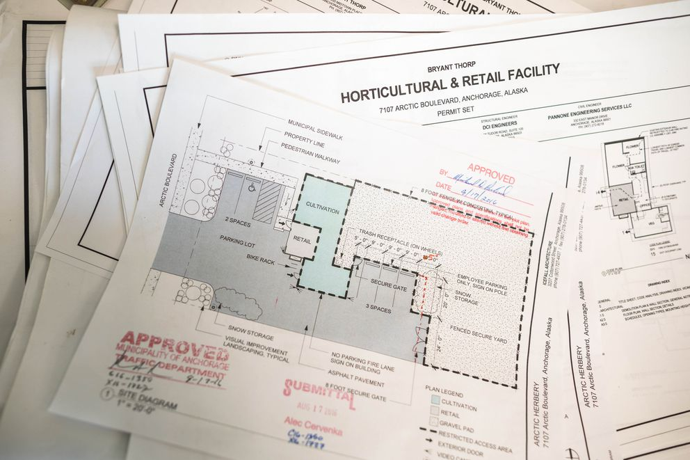 A site plan for retail marijuana business Arctic Herbery, showing the improvements owner Bryant Thorp had to make before he could open for business, on Tuesday, Oct. 4, 2016. (Loren Holmes / Alaska Dispatch News)