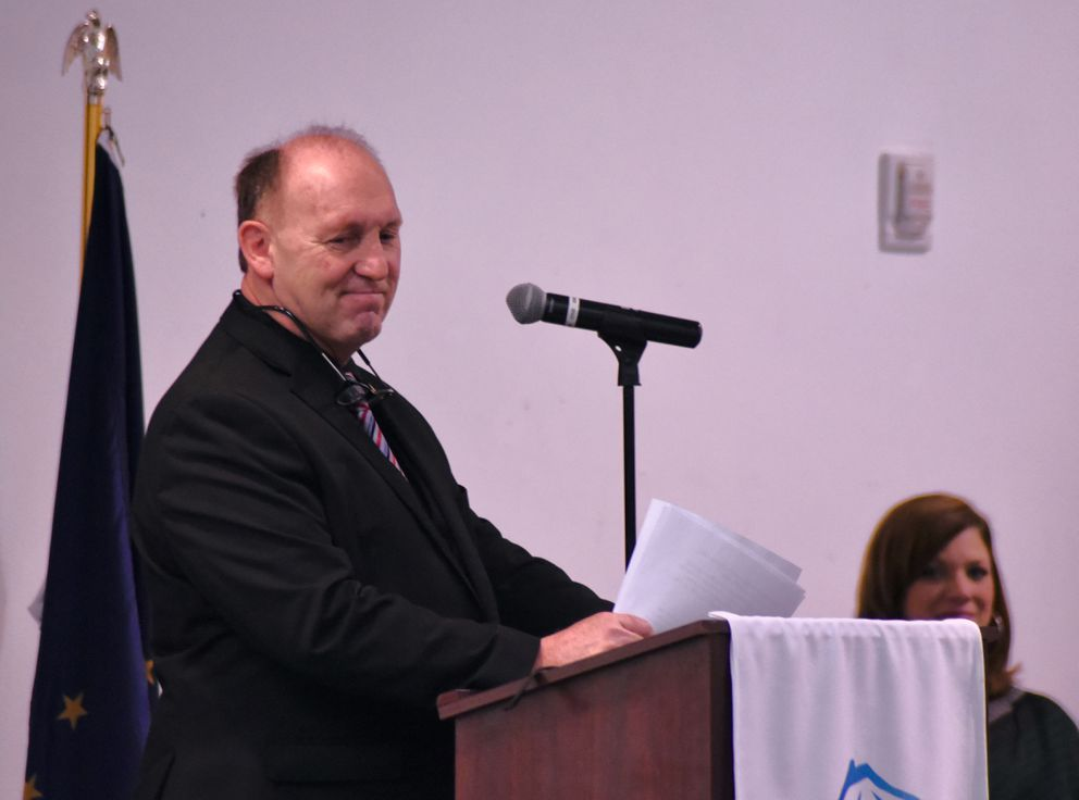 Rep. Gary Knopp, R-Kenai, speaking at a breakfast event hosted by the Kenai and Soldotna chambers of commerce on Friday, Feb. 15, 2019 in Kenai. (Photo by Elizabeth Earl/For the Alaska Journal of Commerce)
