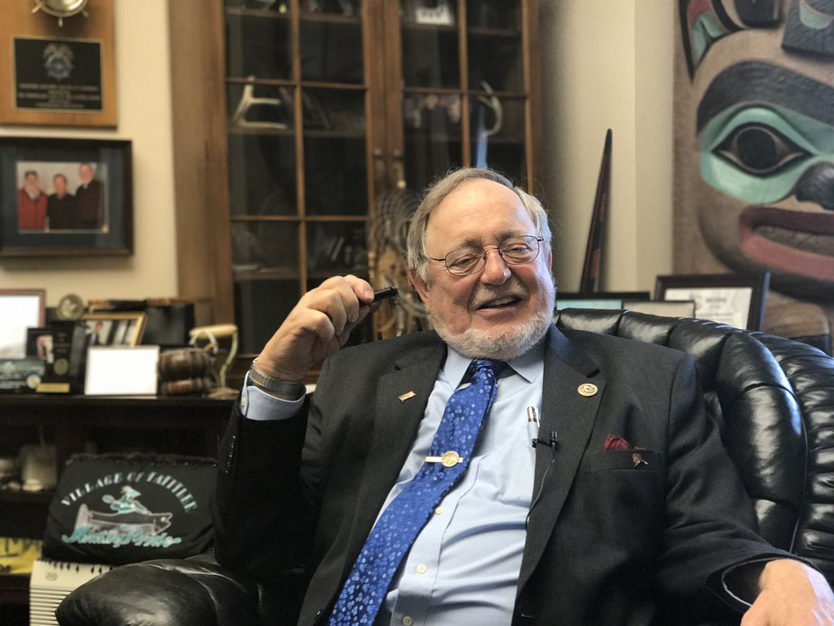 Alaska Rep. Don Young speaks to reporters in his office after a vote on the American Health Care Act was canceled Friday. (Erica Martinson / Alaska Dispatch News)