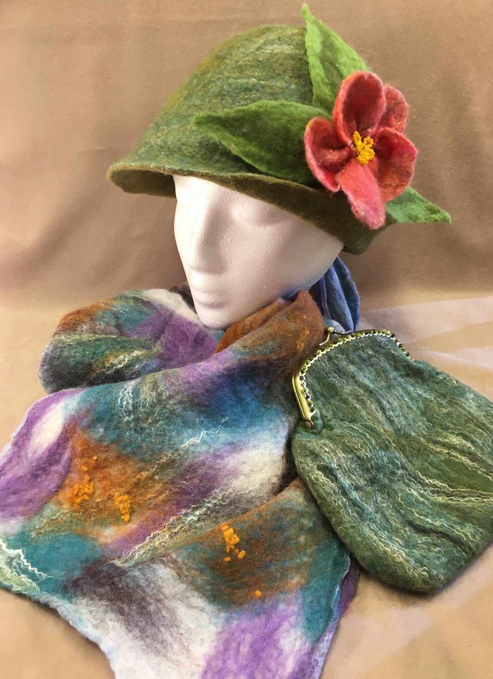 Sue Sutton is a fiber artist and jewelry maker who works out of her Anchorage studio. Felted wool and beadwork are of particular interest to her.