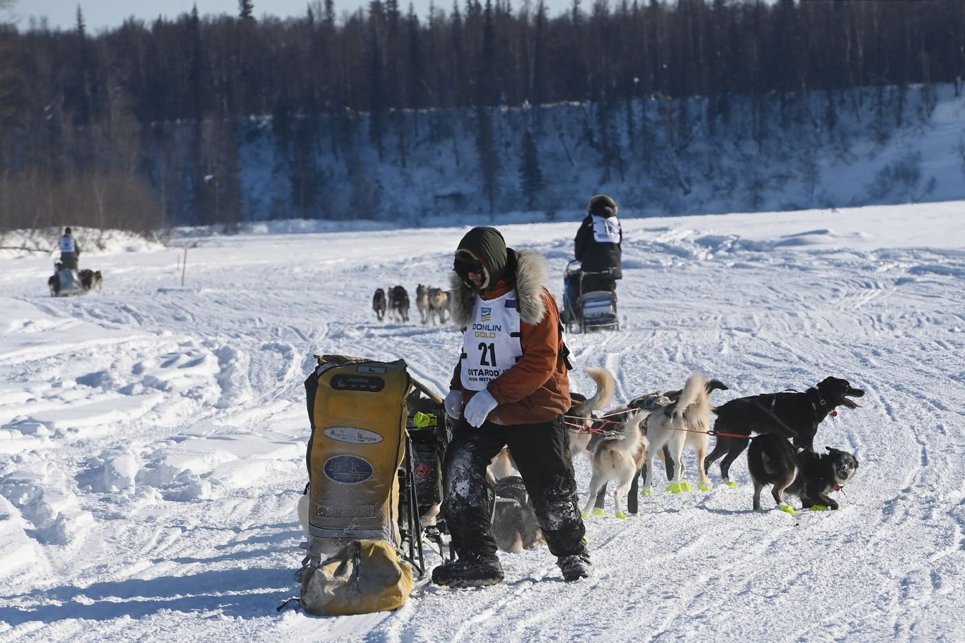 Brent Sass tends to his sled on the Susitna River during the start of the Iditarod Trail Sled Dog Race . (Bill Roth / ADN)