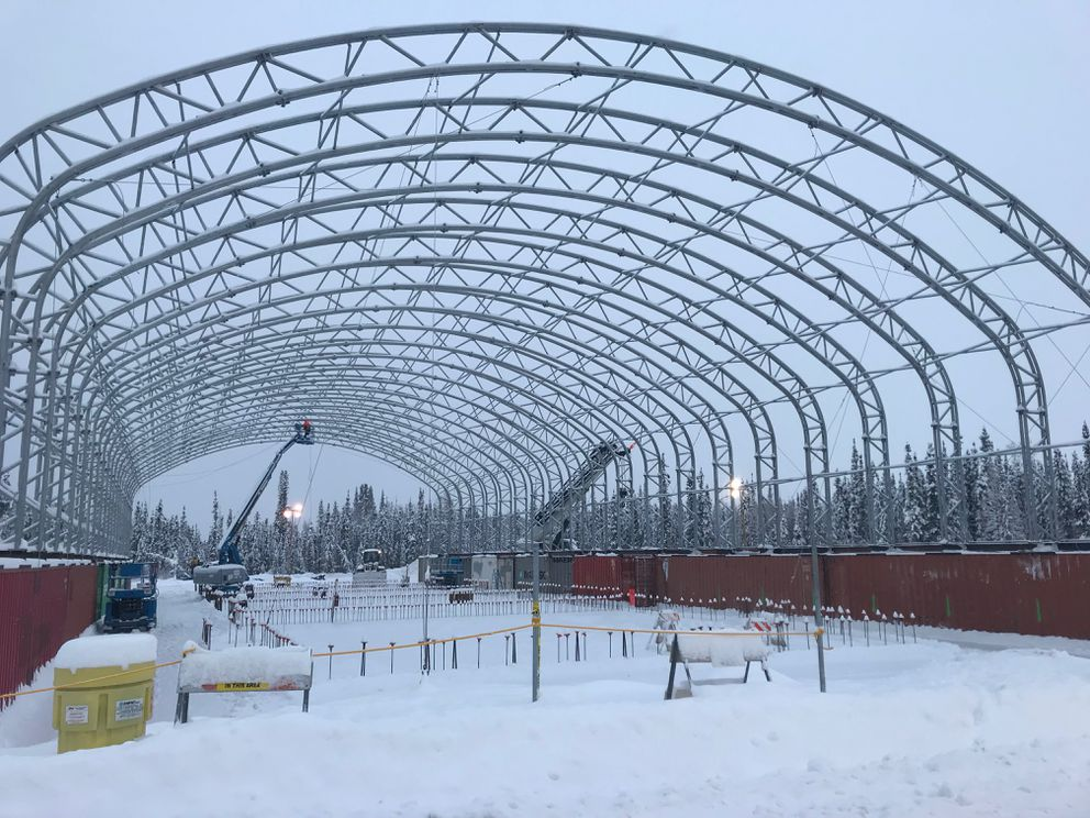 A new hangar being built at Eielson Air Force Base for the incoming F-35 squadrons. (Photo by Sara Karlovitch)