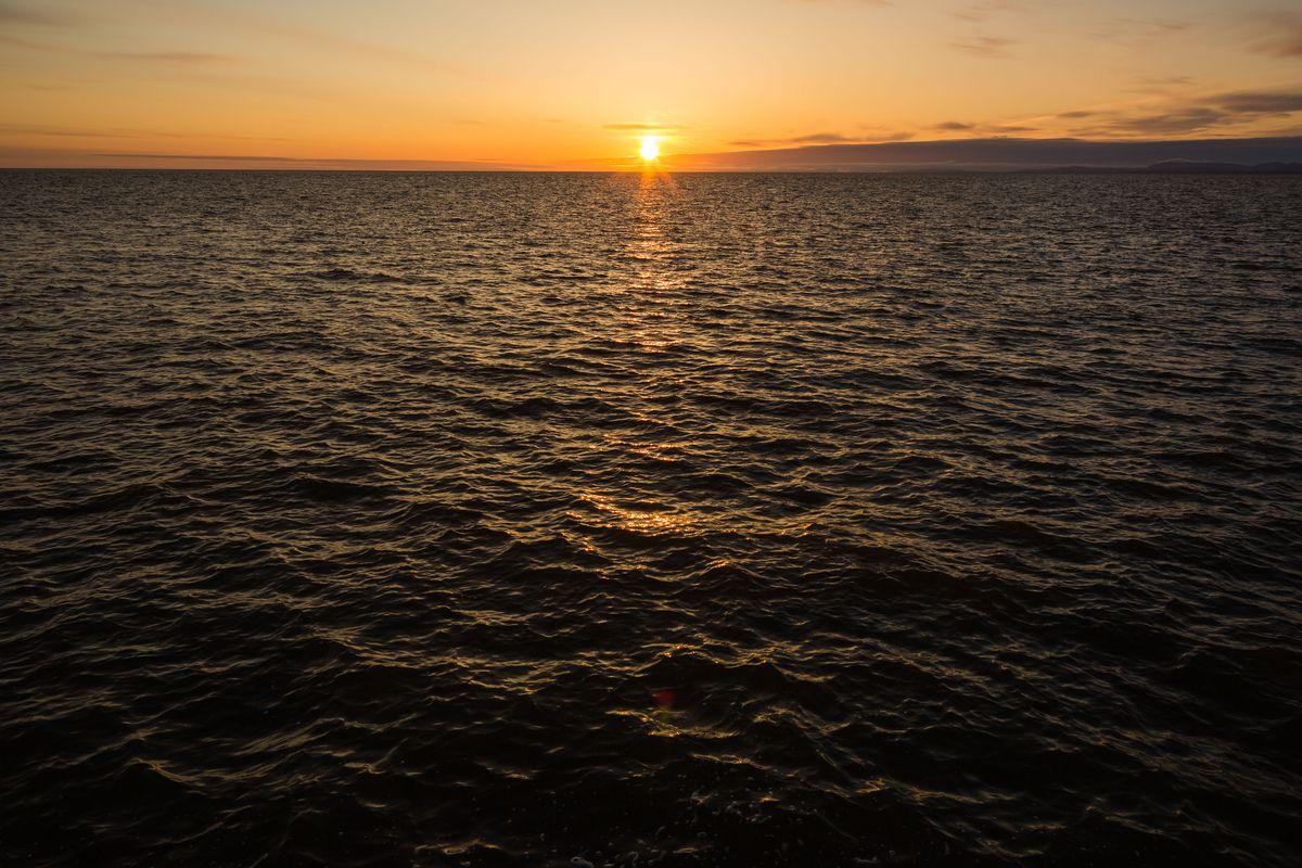 Sunset on the Chukchi Sea in Kotzebue on Monday, Aug.31, 2015. (Loren Holmes / Alaska Dispatch News)