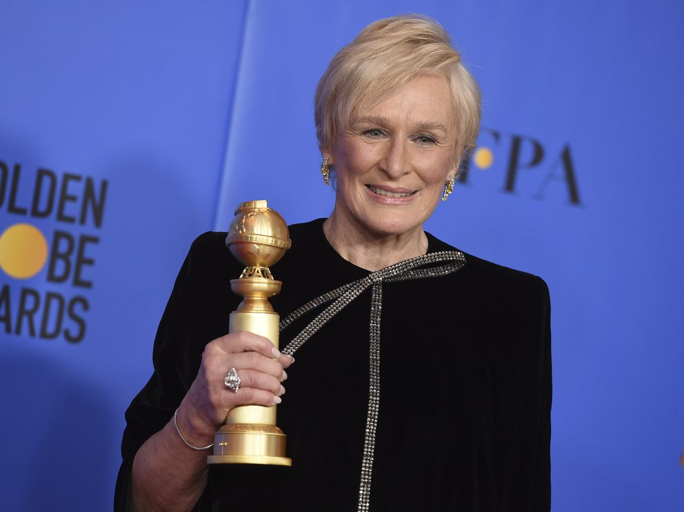 Glenn Close poses in the press room with the award for best performance by an actress in a motion picture, drama for 'The Wife ' at the 76th annual Golden Globe Awards at the Beverly Hilton Hotel on Sunday, Jan. 6, 2019, in Beverly Hills, Calif. (Photo by Jordan Strauss/Invision/AP)