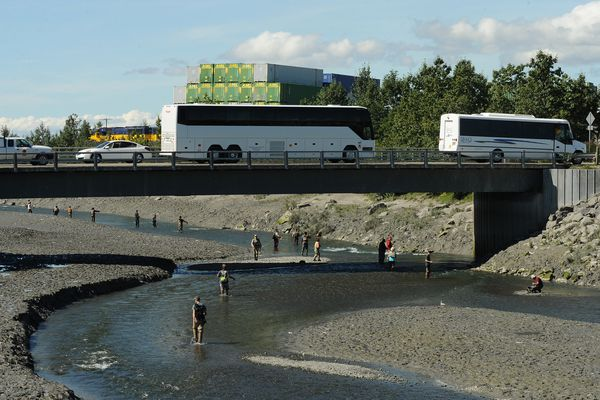 Fishers ply the waters of Ship Creek near downtown Anchorage, Alaska on Friday, August 4, 2017 as tour buses cross the bridge and an Alaska Railroad train passes by. (Bob Hallinen / ADN)