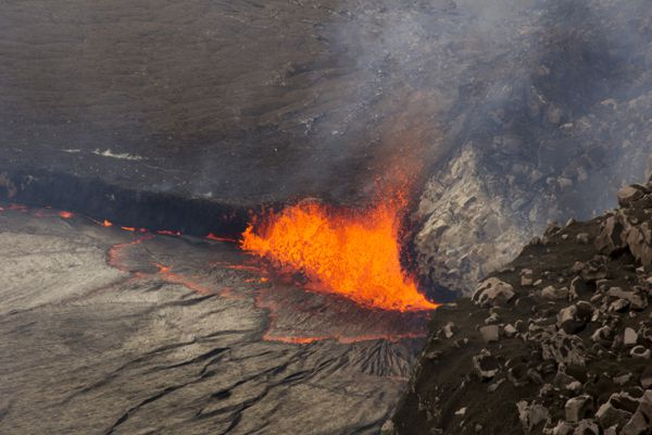 The public is getting their first look at the lake of lava on Hawaii's Kilauea volcano that has been rising over the past week and, at times, overflowing in a spectacular show.