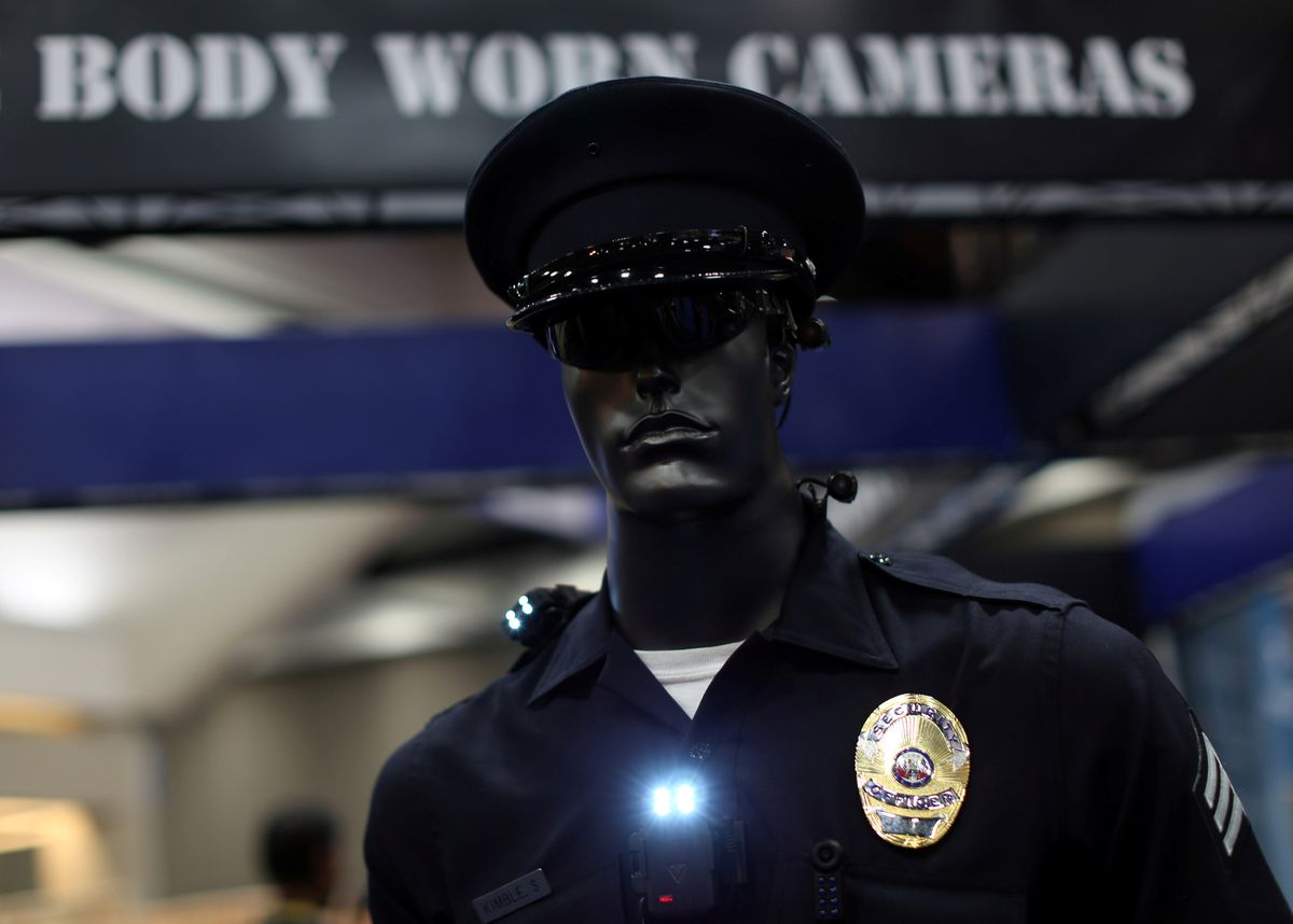 A mannequin dressed as a police officer to show off a body camera system is shown on display at the International Association of Chiefs of Police conference in San Diego, Calif., on Monday. REUTERS/Mike Blake