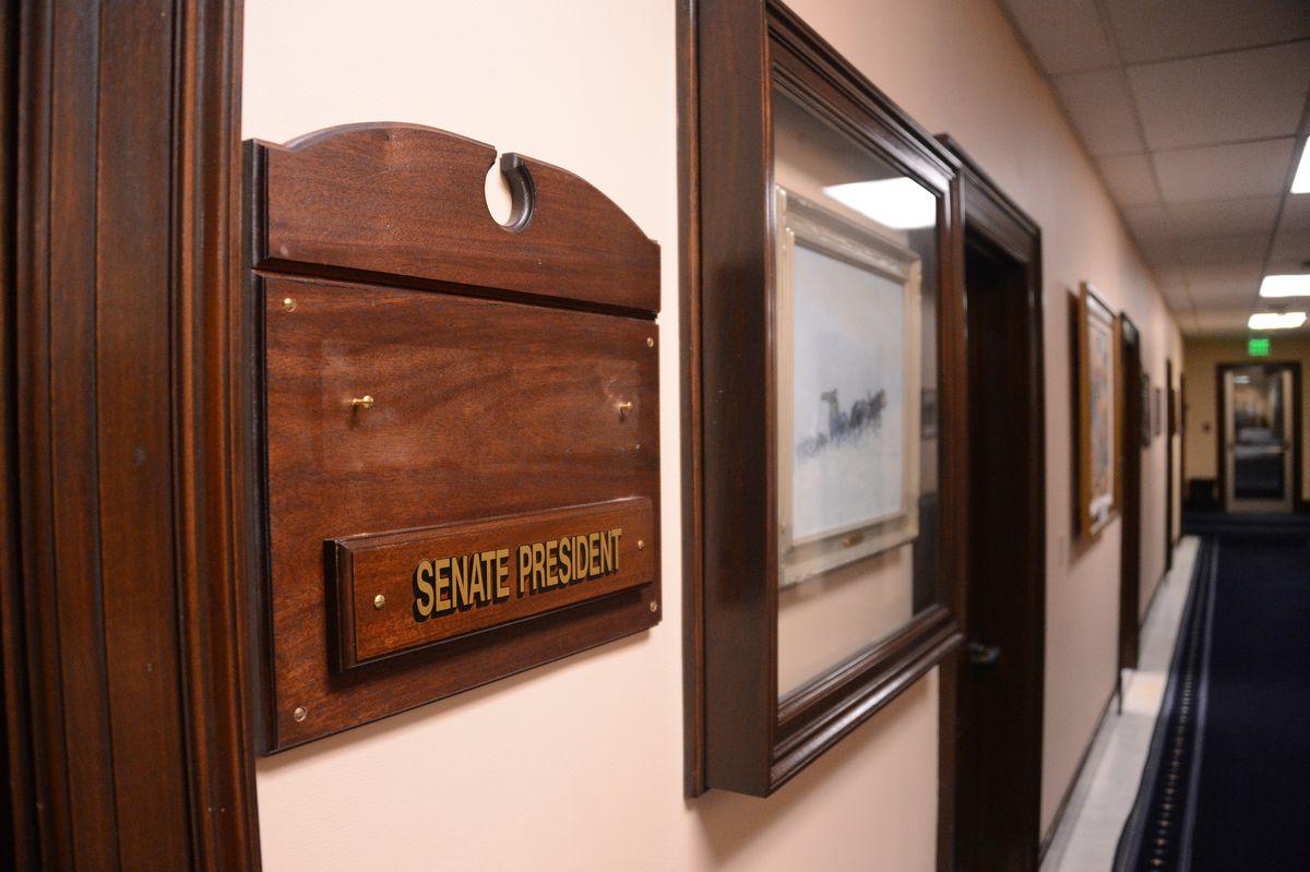 The office of the Senate President bore no nameplate on Monday, Jan. 11, 2021 as Senators had failed to name new leaders. (James Brooks / ADN)