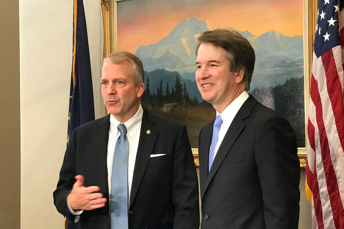 Alaska Sen. Dan Sullivan meets with Supreme Court nominee Brett Kavanaugh in Sullivan's Washington, D.C., office on Thursday. (Erica Martinson / ADN)