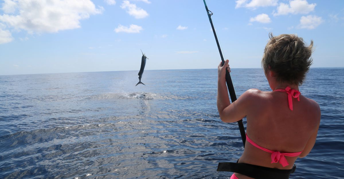 Christine Cunningham fights a sailfish off Costa Rica. (Photo by Steve Meyer)