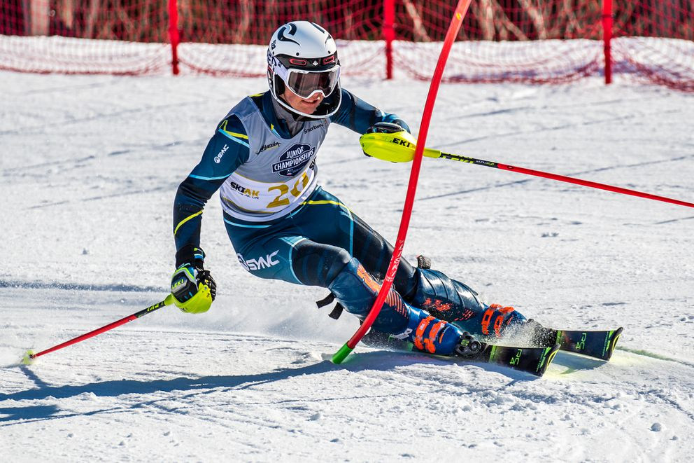 Ryder Sarchett of Sun Valley cruised to a three-second win in the boys slalom Friday, a day after taking the giant slalom title at Alyeska Ski Resort. (Photo by Bob Eastaugh)