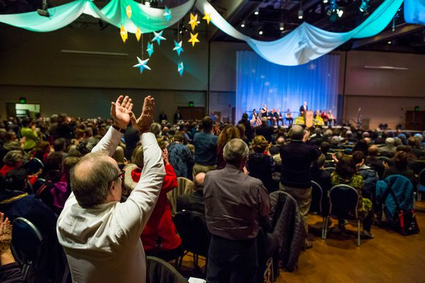 OPINION: Medicaid expansion is good for Alaskans in need and a shot in the arm for Alaska's economy. Pictured: Gov. Bill Walker gets a standing ovation at his inauguration with his promise to expand Medicaid coverage in Alaska.