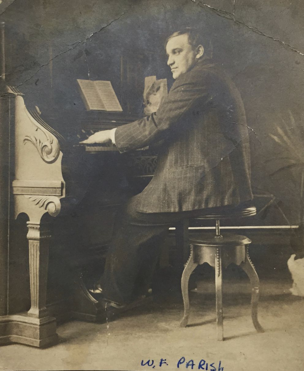 Professor William F. Parish, director of the Anchorage Choral Society, at the organ. He was hired by the Anchorage School in the fall of 1920. Professor Parish elevated music and the dramatic arts in the curriculum. (Photo courtesy of Christine Ashenbrenner. Parish was Ashenbrenner's great-grandfather.)