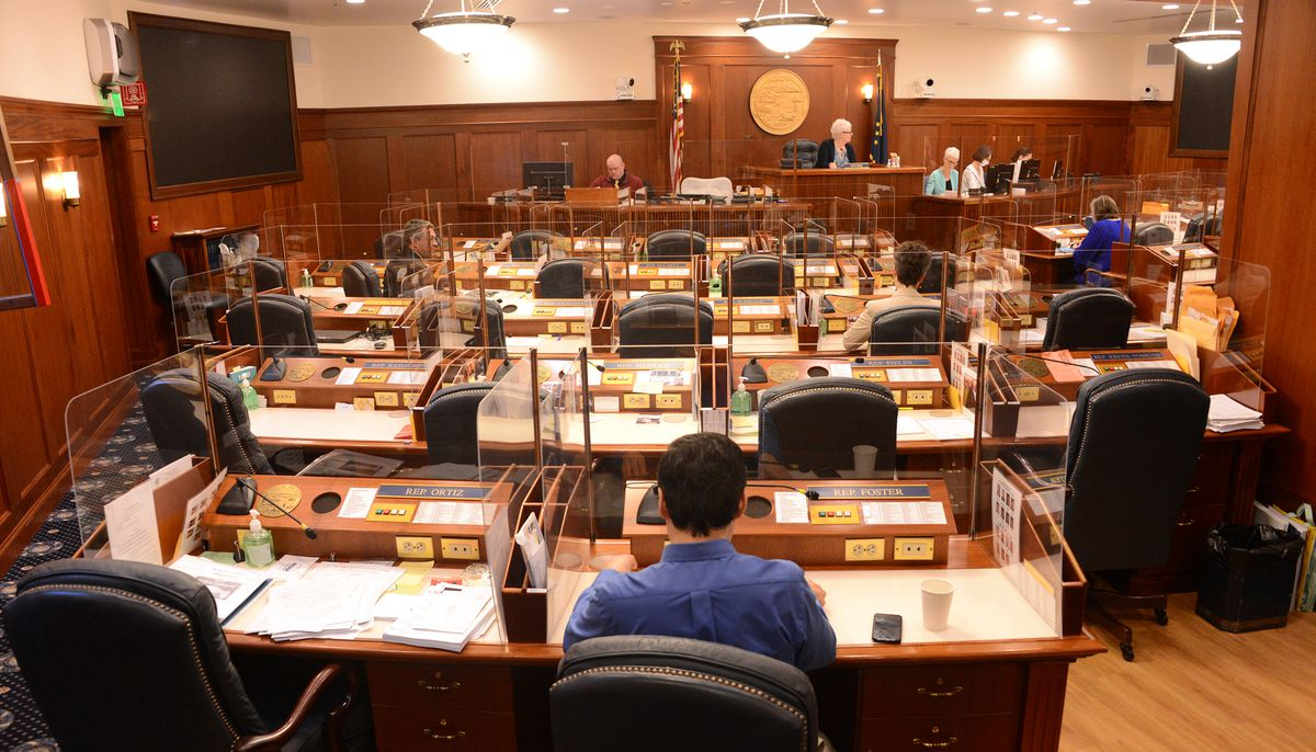 The Alaska House of Representatives meets Monday, June 7, 2021 for a technical session. As budget negotiations continue with a small group of legislators, most lawmakers are out of the Capitol. (James Brooks / ADN)