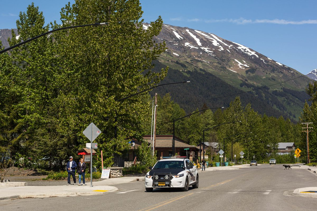 An Alaska State Trooper patrols downtown Girdwood on Thursday, May 28, 2015. State budget cuts prompted troopers to close its post, leaving the community to plan for its own law enforcement. (Loren Holmes / Alaska Dispatch News)