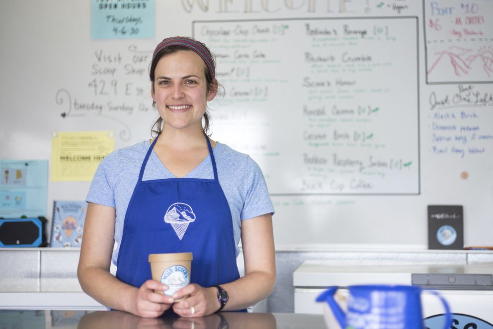 """Elissa Brown, co-owner of Wild Scoops, has created over a hundred flavors that often source Alaska add-ins. """"I felt like that was a bit of a grounding thing, to be like, 'OK, what is local to Alaska and how can I use flavors that really speak to a sense of place?' """" she said. (Rugile Kaladyte / Alaska Dispatch News)"""