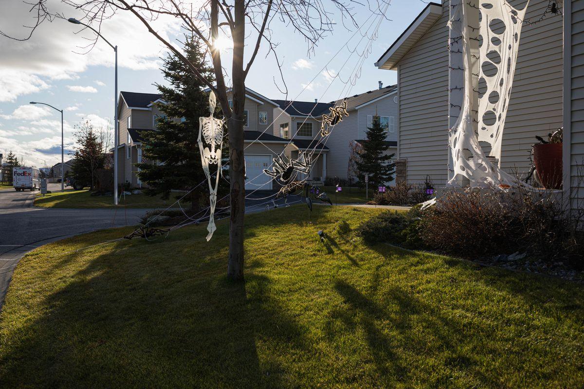A yard is decorated for Halloween on Wednesday in South Anchorage. (Loren Holmes / ADN)